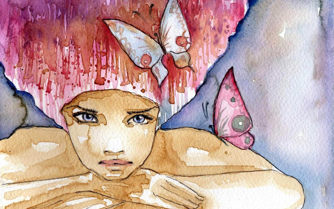 Watercolor portrait with butterflies